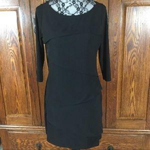 White House Black Market Black Ruffle Front Dress